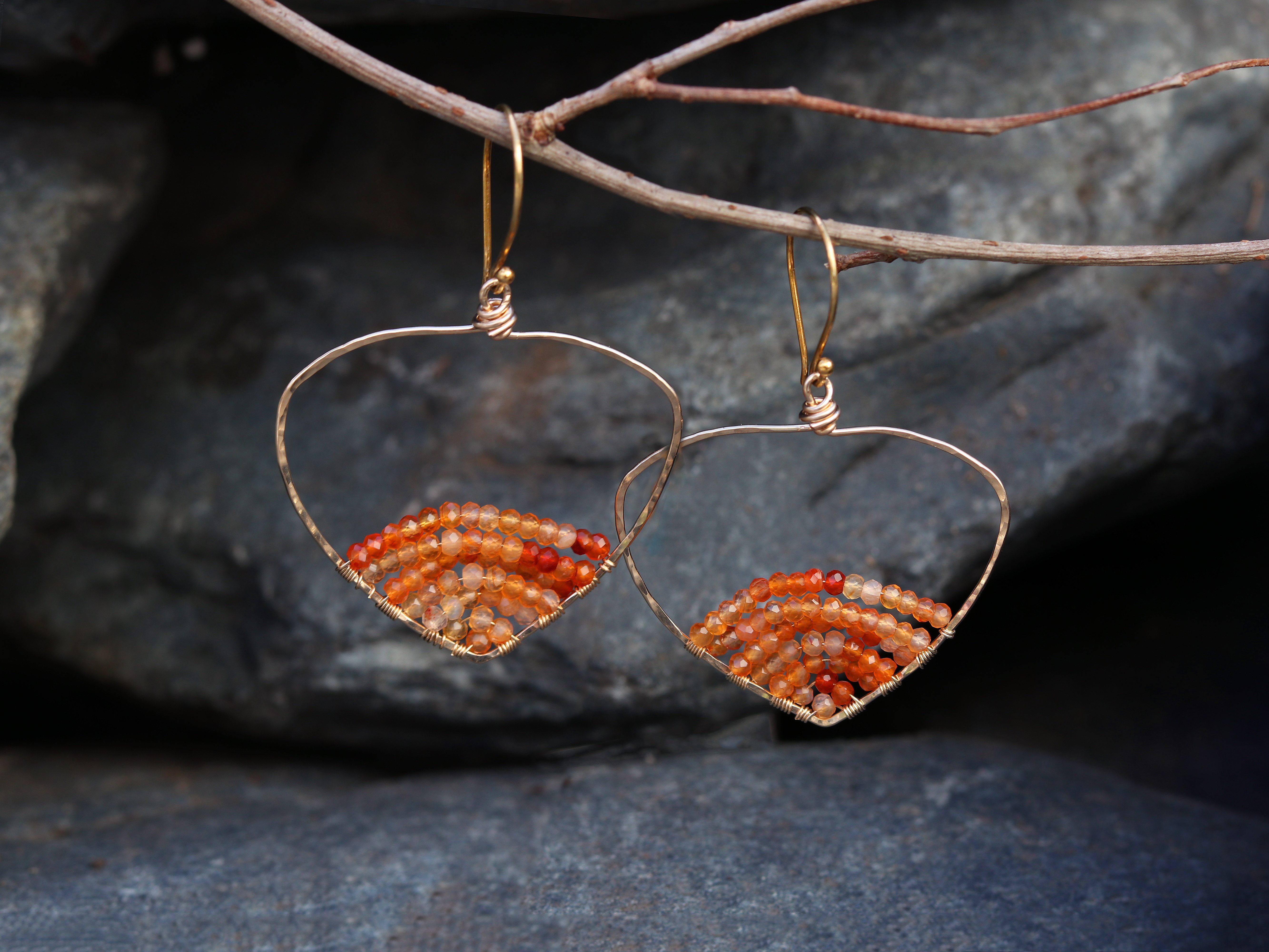 Carnelian Wide Gold Lotus Hoop Earrings